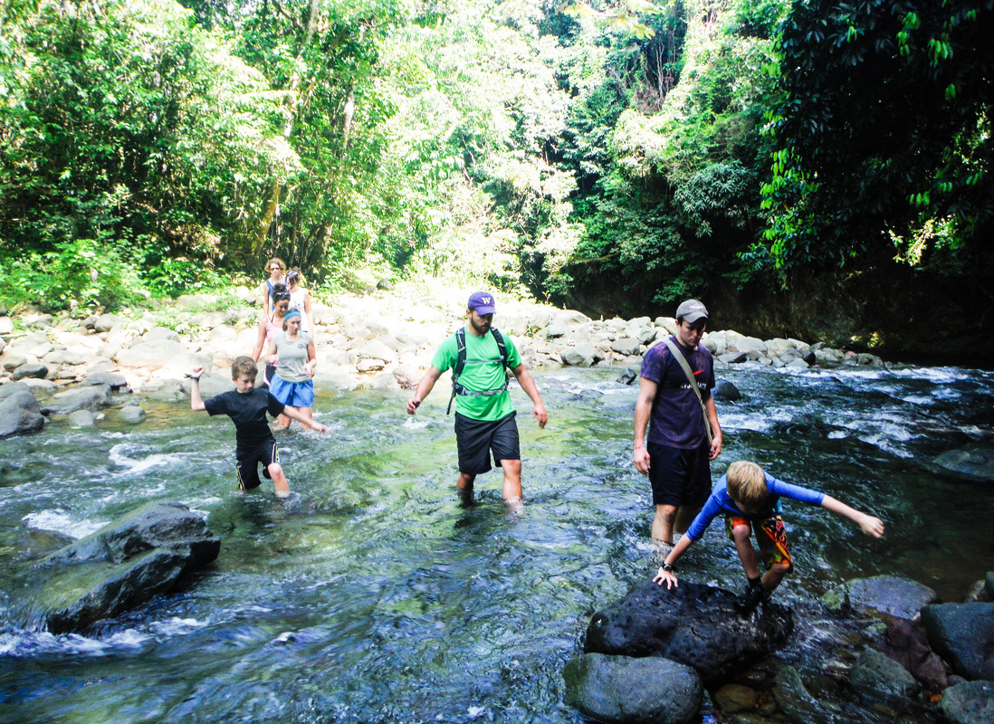 wading, canyoning, adventure, kids, Rio Camu, DR, Dominican Republic, waterfall, River